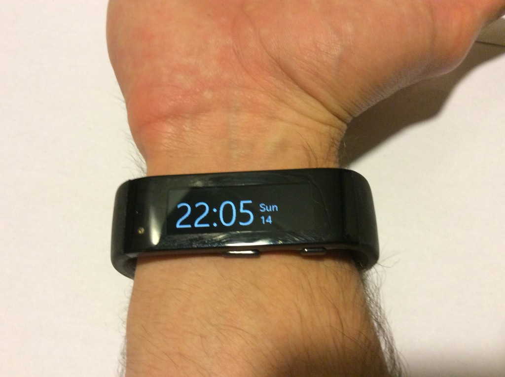 Wearing Microsoft Band in default state