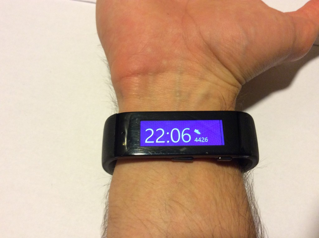 Wearing Microsoft Band in activated state