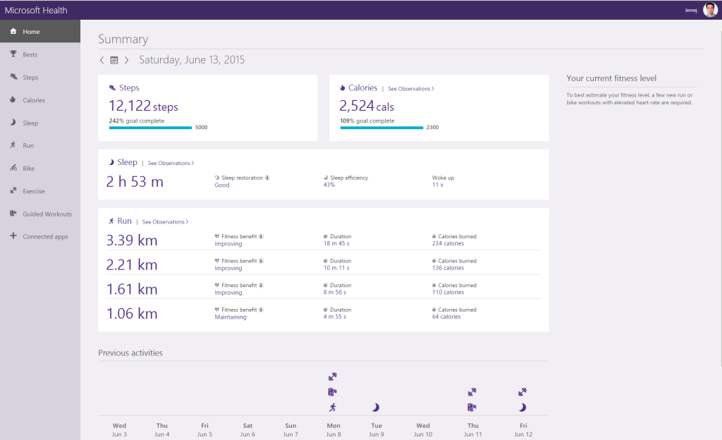 Microsoft Health dashboard.